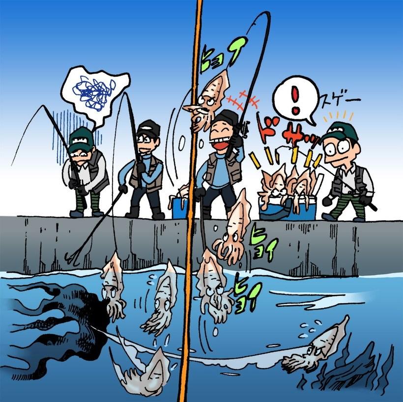 釣れている人の潮下に入ると釣れにくい
